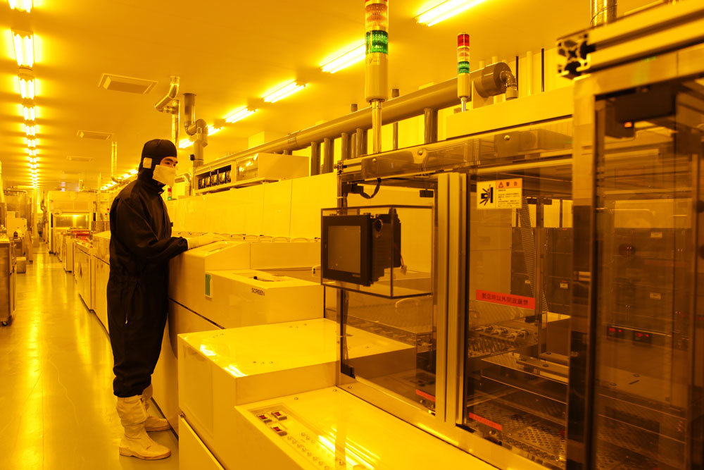 Installed mass production line for in-line production of resistive glass and glass touch panels